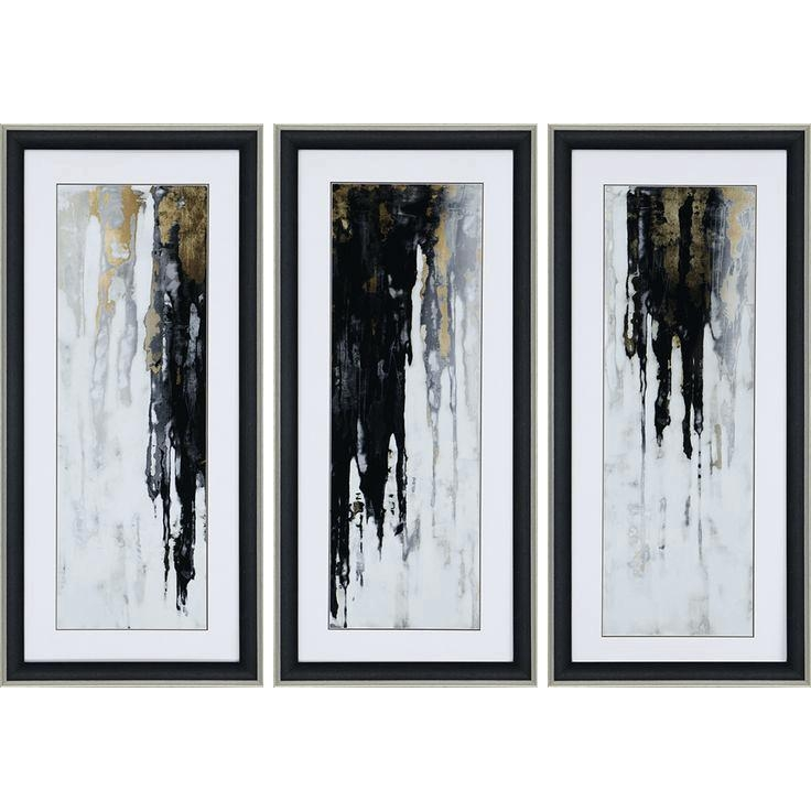 Black Abstract Wall Art Cascades Of Black And Gold Form A Striking In Black And Gold Abstract Wall Art (Image 6 of 20)