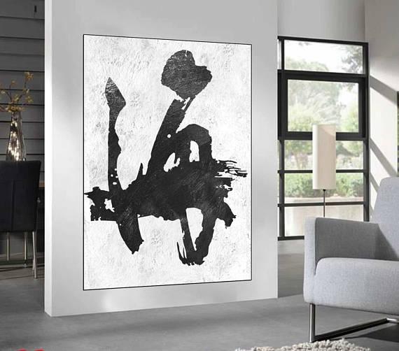 Black White Abstract Wall Art Original Painting Large Wall For Black And White Abstract Wall Art (Image 9 of 20)