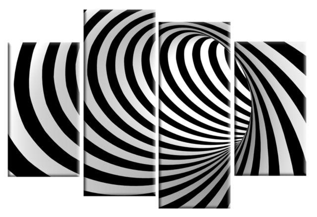 Black White Mind Blowing Abstract 4 Panel Wall Art 40 Inch 101Cm Within Black And White Abstract Wall Art (Image 10 of 20)