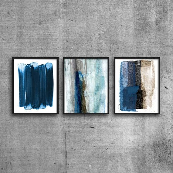 Blue & Brown Abstract Print, Set Of 3 Prints, Abstract Wall Art For Blue And Brown Abstract Wall Art (Image 3 of 20)