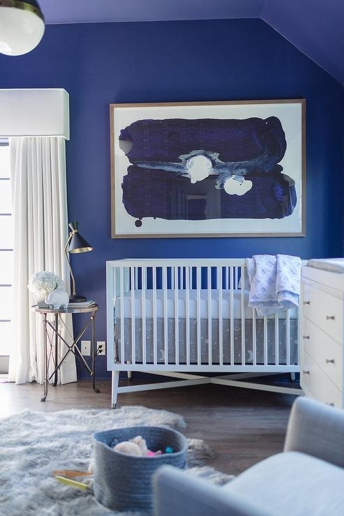 Blue Nursery With Cornice Box And Curtains – Contemporary – Nursery Pertaining To Dwell Abstract Wall Art (Image 9 of 15)