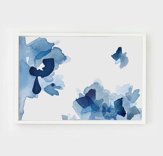 Blue Tones Large Abstract Wall Art Inside Blue Abstract Wall Art (Image 6 of 20)