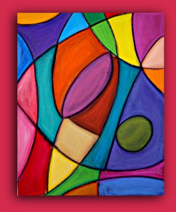 Bright Colorful Original Abstract Painting Large Wall Art Fine Art Inside Glass Abstract Wall Art (Image 3 of 15)