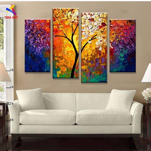 Bright Life Tree Picture Painting Handmade Modern Abstract Oil For Bright Abstract Wall Art (Image 9 of 20)