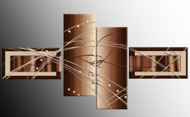Brown Beige White Wide Stretch 4 Panel Abstract Canvas Wall Art In Brown Abstract Wall Art (Photo 8 of 20)
