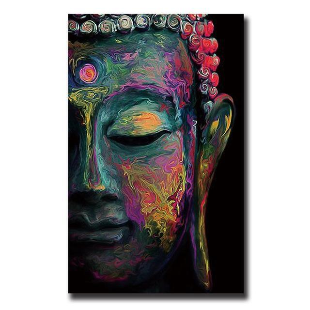 Buddha Canvas Painting Wall Art Poster Meditation Abstract Cheap With Regard To Abstract Buddha Wall Art (Image 7 of 20)
