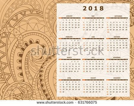 Business English Calendar Wall On Year Stock Vector 631766075 Intended For Abstract Calendar Art Wall (Photo 19 of 20)