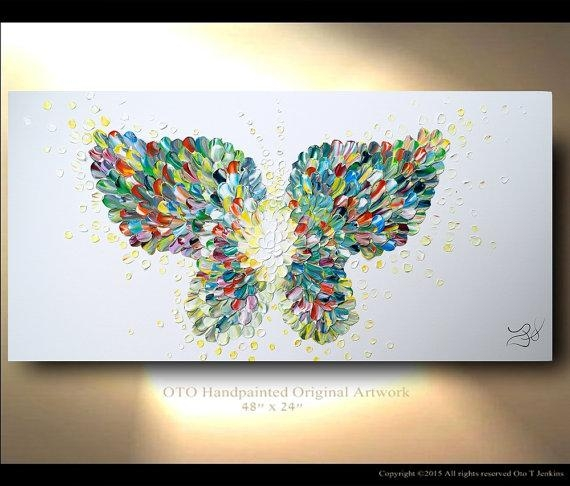 Butterfly Textured Modern Contemporary Abstract Custom For Abstract Butterfly Wall Art (Image 7 of 20)