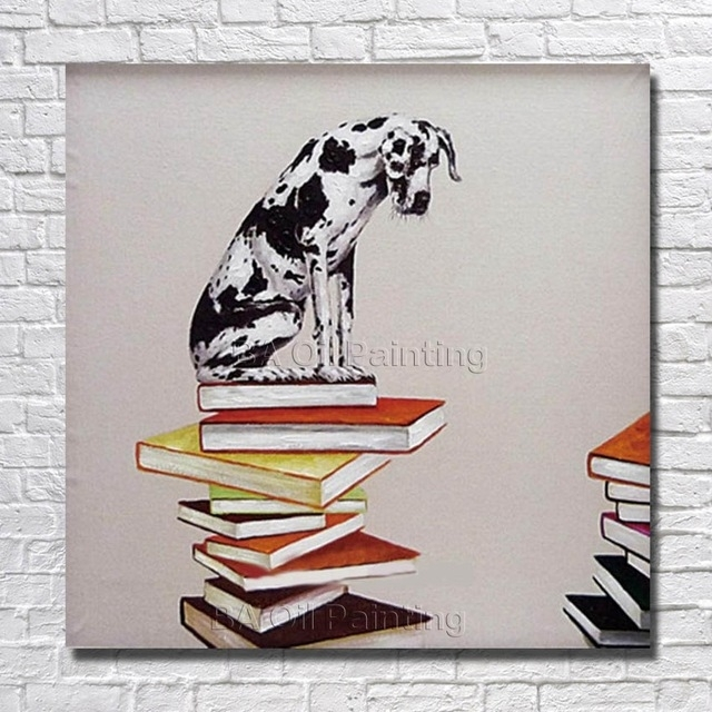 Canvas Art Cheap 100% Hand Painted Modern Abstract Dog On The Book Pertaining To Abstract Dog Wall Art (View 12 of 15)