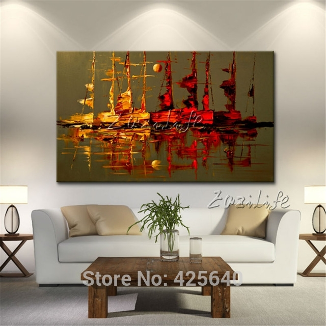 Canvas Painting Yacht Ship Sailing Boat Hand Painted Modern With Regard To Abstract Wall Art For Living Room (View 10 of 15)