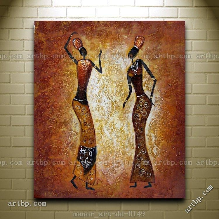 Canvas Wall Art Abstract Africa Oil Painting Modern Decor Hand Regarding Abstract African Wall Art (Image 13 of 20)