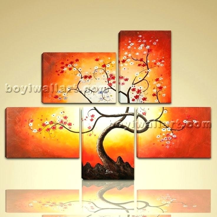 Canvas Wall Paintings Art Stretched And Framed Hand Painted Modern Throughout Abstract Floral Canvas Wall Art (Image 5 of 15)