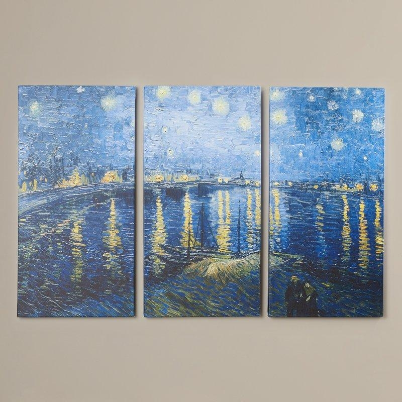Charlton Home 'starry Night Over The Rhone'vincent Van Gogh 3 Throughout Vincent Van Gogh Multi Piece Wall Art (Image 6 of 20)