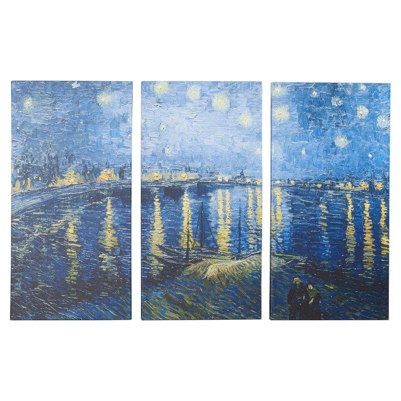 Charlton Home 'starry Night Over The Rhone'vincent Van Gogh 3 Within Vincent Van Gogh Multi Piece Wall Art (View 13 of 20)