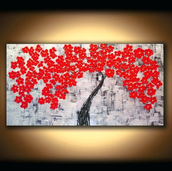 Cherry Blossom Canvas Wall Art 4 Piece Wall Art Painting Print On Throughout Cherry Blossom Oil Painting Modern Abstract Wall Art (Image 5 of 20)