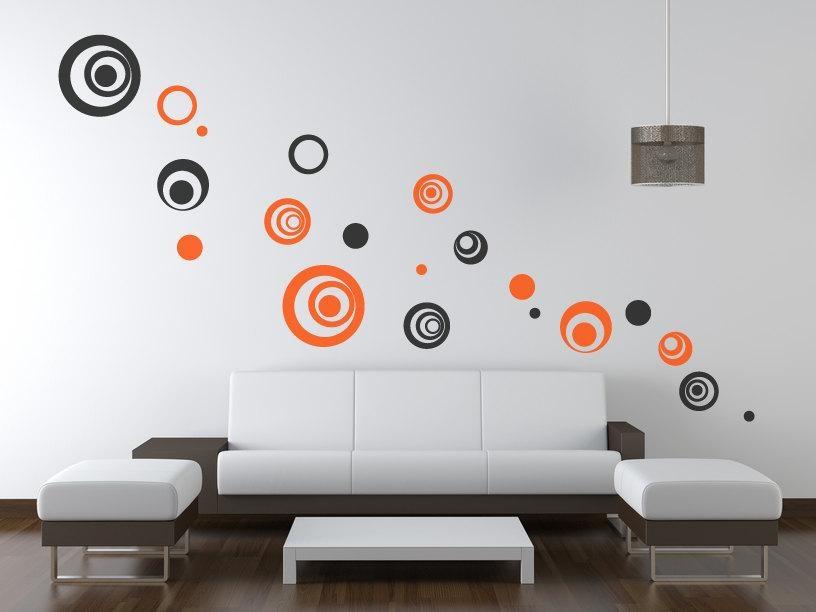 Circle/polka Dot Wall Decals/wall Art Stickers – Vinyl Abstract Throughout Abstract Circles Wall Art (Image 7 of 20)