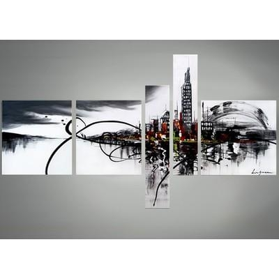 Cityscape Canvas Art – Black And White Abstract Wall Decor 63 X 33In With Regard To Abstract Wall Art Canada (View 2 of 20)