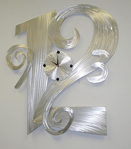 Clock,clocks,contemporary Wall Clocks,brushed Aluminum Clocks And Inside Abstract Clock Wall Art (View 10 of 20)