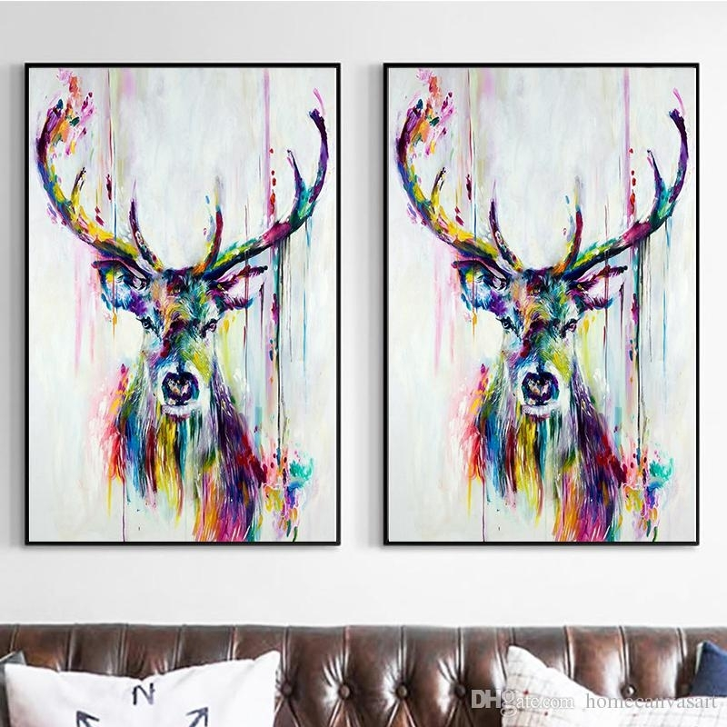 Colorful Abstract Oil Paintings Modern Animals Deer Print Canvas Inside Abstract Deer Wall Art (Image 8 of 15)