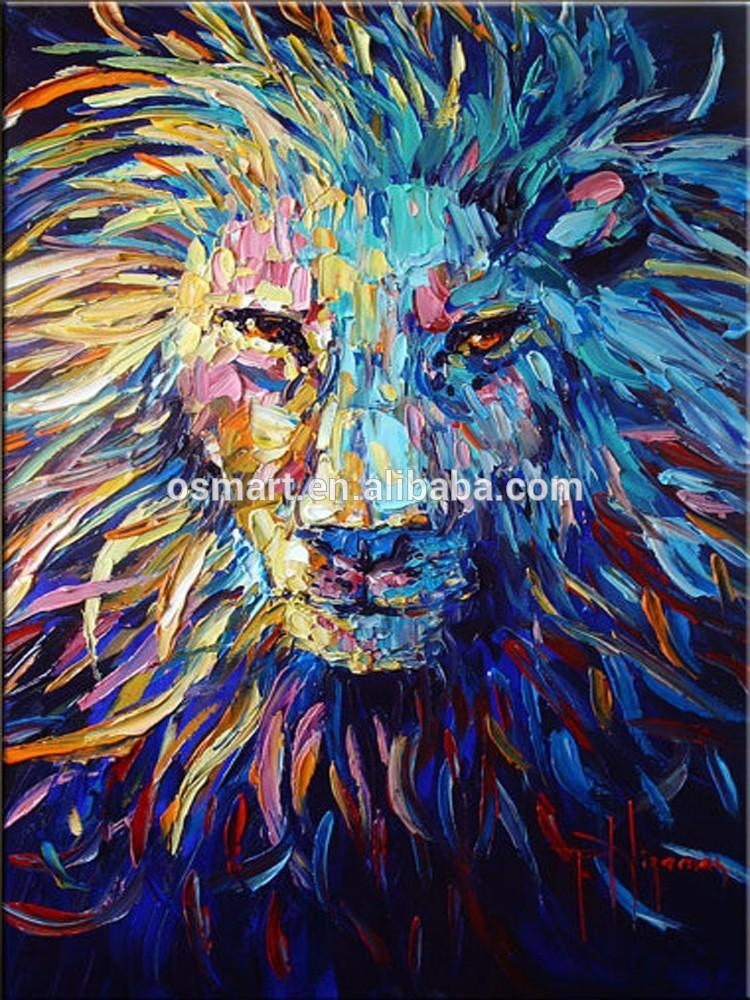 Colorful Animal Oil Painting On Canvas Abstract Animal Oil Within Abstract Animal Wall Art (View 12 of 20)