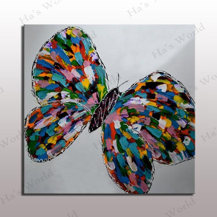 Colorful Butterfly Oil Painting Modern Abstract Butterfly Canvas In Abstract Butterfly Wall Art (Image 8 of 20)