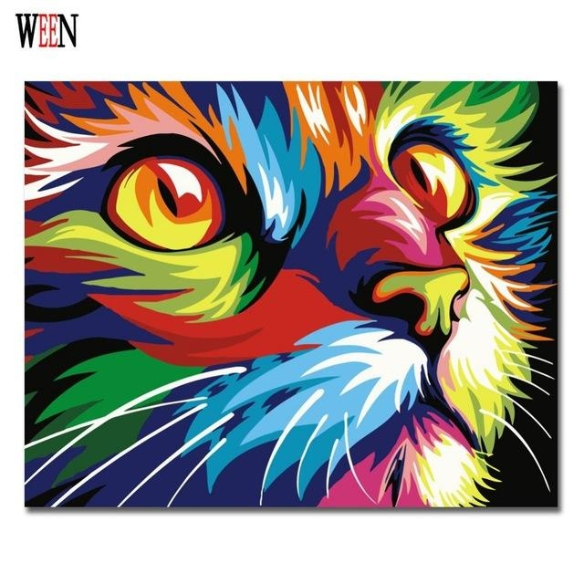 Colorful Cat Abstract Diy Digital Paintingnumbers Modern Inside Abstract Animal Wall Art (View 6 of 20)