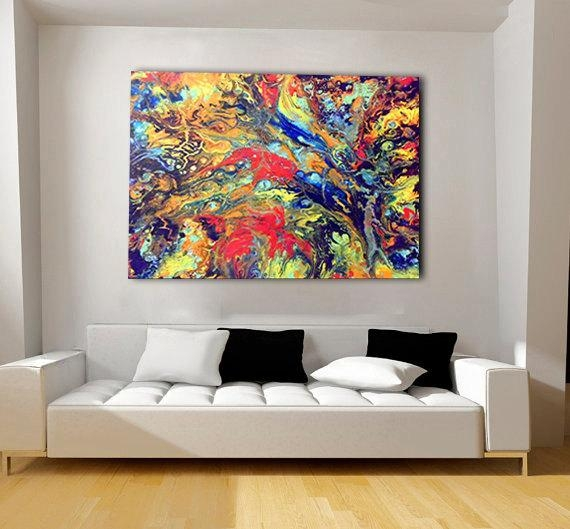 Colorful, Extra Large Canvas, Oversized Print, Bohemian Decor Inside Abstract Wall Art Prints (View 13 of 20)
