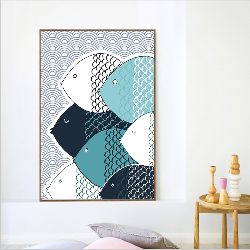 Colorfulboy Modern Abstract Fish Canvas Painting Geometry Wall Art Inside Abstract Fish Wall Art (View 12 of 15)