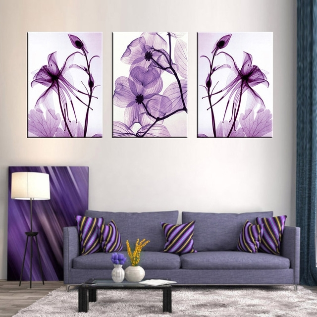 Combined 3 Pcs/set New Purple Flower Wall Art Painting Prints On Inside Abstract Flower Wall Art (Image 8 of 15)