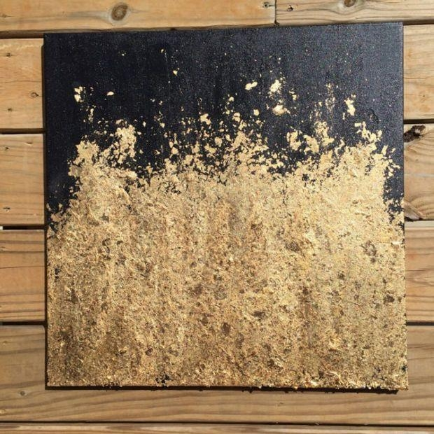 Contemporary Gold Leaf Painting – Original Abstract Modern Throughout Black And Gold Abstract Wall Art (View 3 of 20)