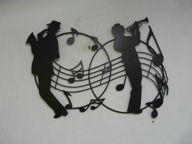 """Contemporary Metal Wall Art """"jazz Musicians Silhouette With Regard To Abstract Musical Notes Piano Jazz Wall Artwork (View 15 of 20)"""