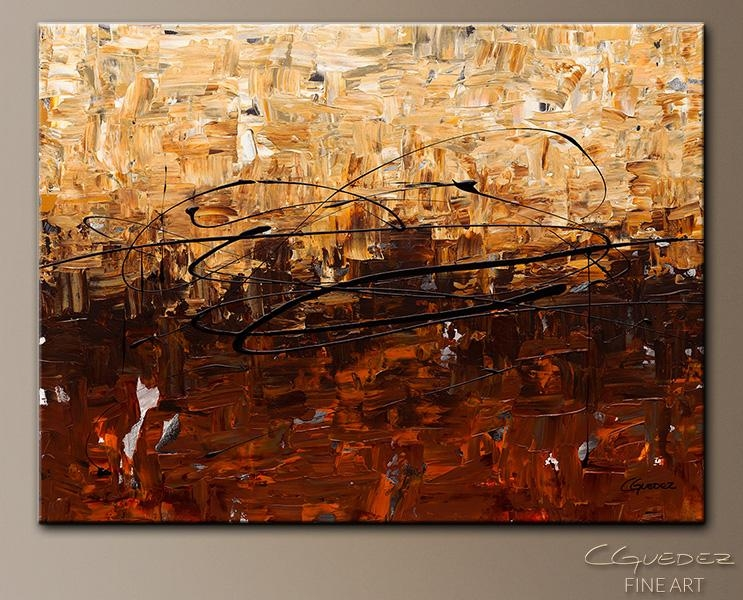 Contemporary Wall Art Symphony – Canvas Abstract Painting – Gold Regarding Abstract Wall Art Canada (View 12 of 20)