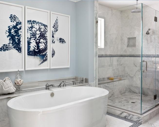 Cool Wall Art For Modern Bathrooms With White Granite Floor Tiles With Regard To Abstract Wall Art For Bathroom (View 7 of 20)