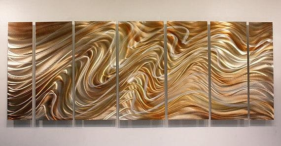 Copper & Silver Abstract Metal Wall Art Large Handmade Metal In Abstract Copper Wall Art (Image 2 of 20)