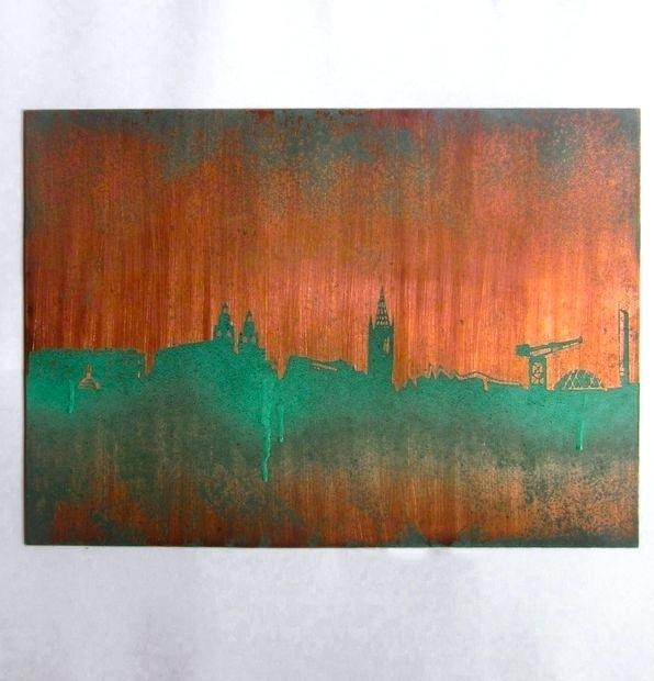 Copper Wall Art Abstract Modern Triptych Painting Copper Wall Art Regarding Abstract Wall Art Australia (View 14 of 20)