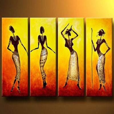 Dance Of African Girls Modern Canvas Art Wall Decor Abstract Oil For Abstract African Wall Art (View 7 of 20)