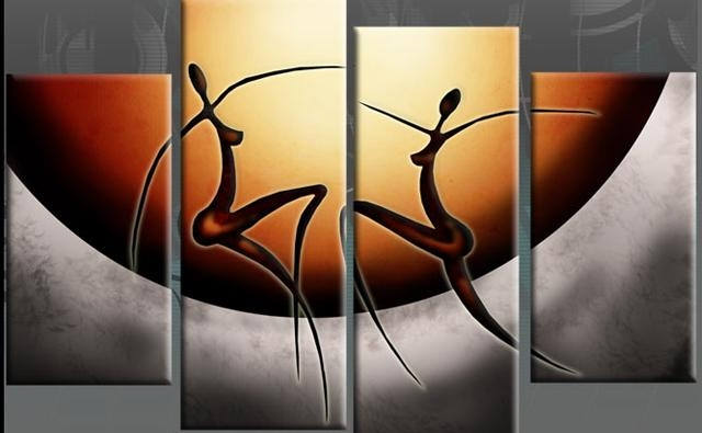 Dancing African Ladies Abstract Canvas Split Panel Wall Art 40 Regarding Abstract African Wall Art (View 6 of 20)