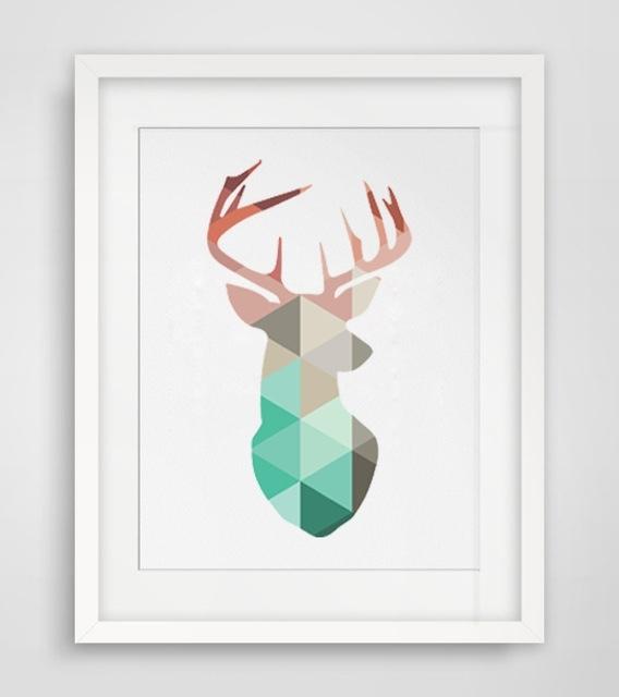 Deer Wall Art Geometric Coral Deer Head Canvas Art Print Poster Within Abstract Deer Wall Art (View 4 of 15)