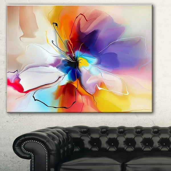 Designart 'creative Flower In Multiple Colors' Abstract Floral Pertaining To Abstract Floral Canvas Wall Art (Image 6 of 15)