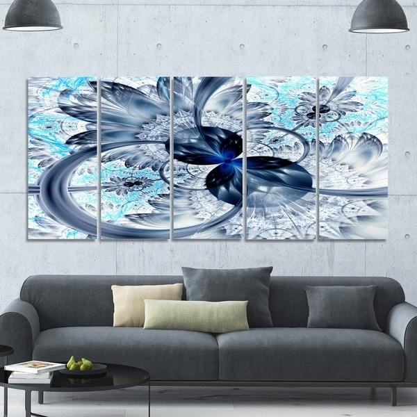 Designart 'dark Blue Purple Fractal Flower' Abstract Wall Art On Regarding Dark Purple Abstract Wall Art (Image 5 of 15)