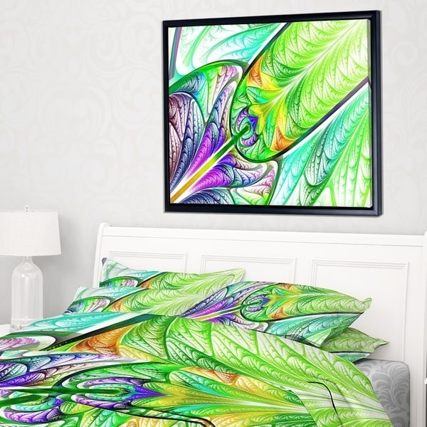 Designart 'green Blue Fractal Stained Glass' Abstract Wall Art Intended For Glass Abstract Wall Art (Image 5 of 15)