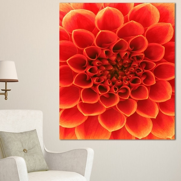 Designart 'orange Abstract Floral Design' Modern Floral Canvas For Abstract Floral Canvas Wall Art (View 13 of 15)