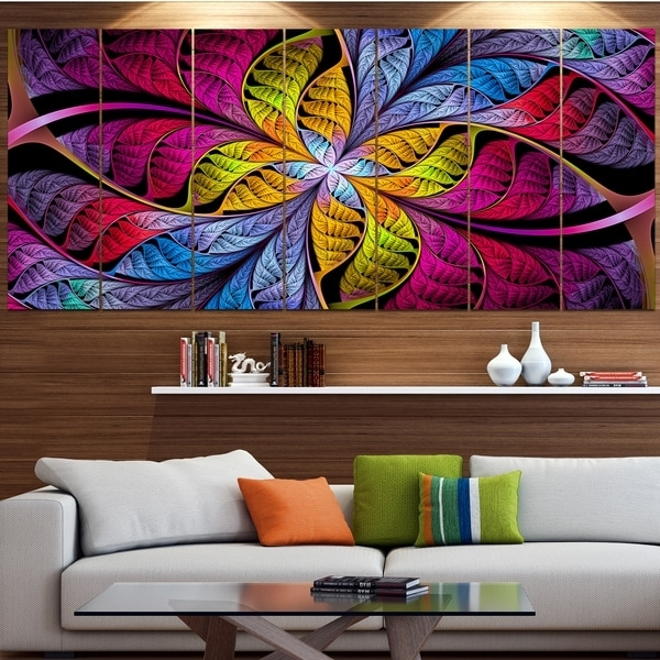 Designart 'pink Yellow Fractal Stained Glass' Abstract Wall Art On Pertaining To Glass Abstract Wall Art (Image 6 of 15)