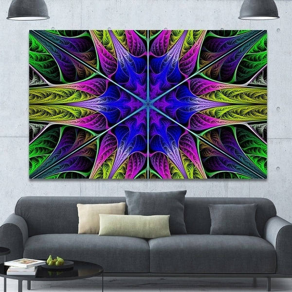 Designart 'star Shaped Blue Stained Glass' Abstract Wall Art On Pertaining To Glass Abstract Wall Art (Image 7 of 15)