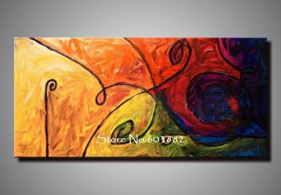 Discount 100% Handmade Large Canvas Wall Art Abstract Painting On With Regard To Extra Large Canvas Abstract Wall Art (Image 4 of 15)