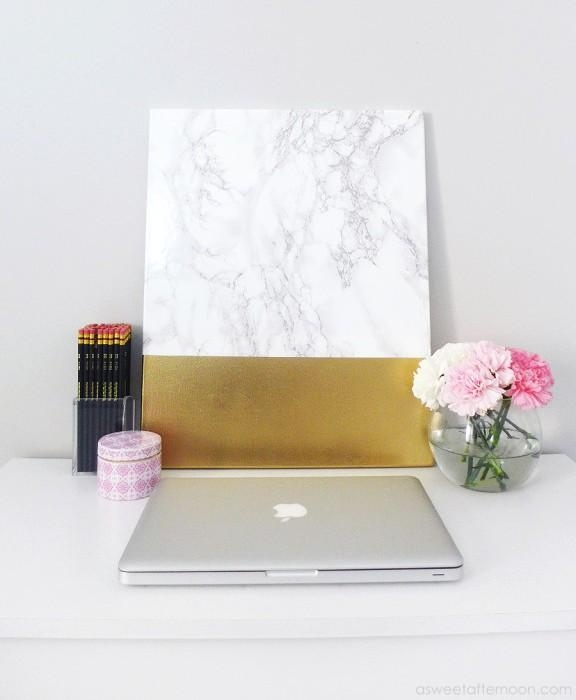 Diy Faux Marble And Gold Canvas Wall Art – Shelterness Regarding Diy Abstract Wall Art (Image 11 of 20)