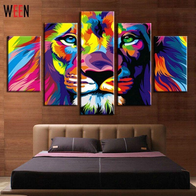 Diy Framed Lion King Animal Abstract Print Canvas Painting Wall Throughout Abstract Animal Wall Art (View 11 of 20)