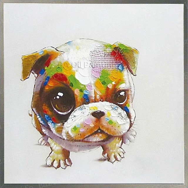 Dog Oil Painting On Canvas Wall Pictures Paintings For Living Room In Abstract Dog Wall Art (Image 5 of 15)