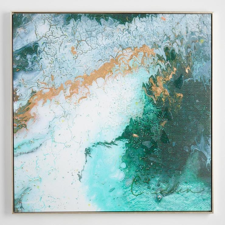 Dreamshadden Spotts Gold Frame For Aqua Abstract Wall Art (Image 10 of 20)