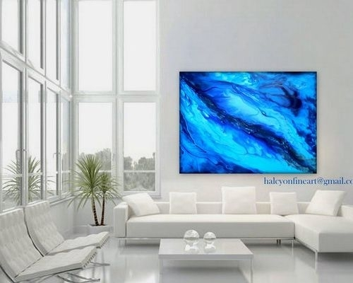 """Dwell Large Wall Art Abstract Water Or Print Up To 48""""halcyon Within Dwell Abstract Wall Art (Image 13 of 15)"""